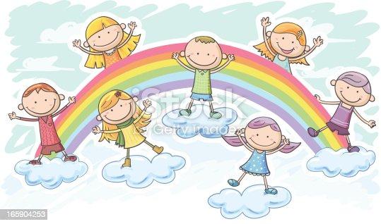 Little boy and girl on the rainbow in colourful cartoon style