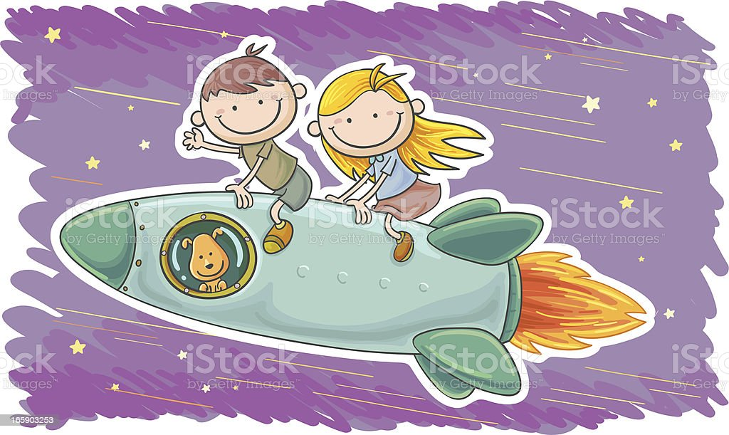 Little boy and girl travel by spaceship royalty-free little boy and girl travel by spaceship stock vector art & more images of adult