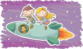 Little boy and girl travel by spaceship, in colourful cartoon style