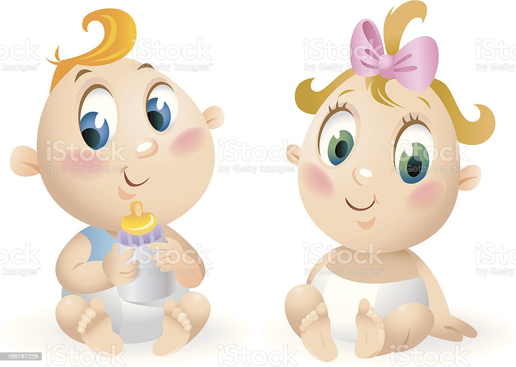 Little boy and girl royalty-free stock vector art