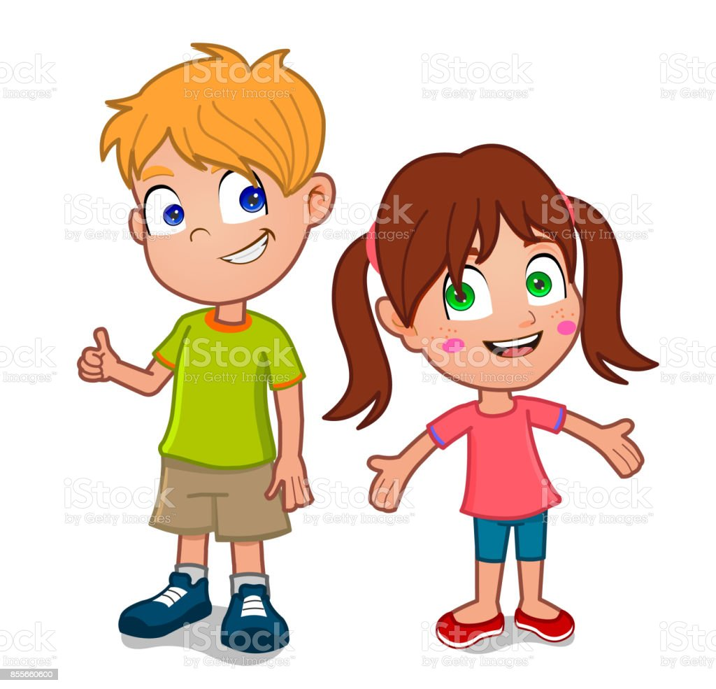 little boy and girl vector art illustration