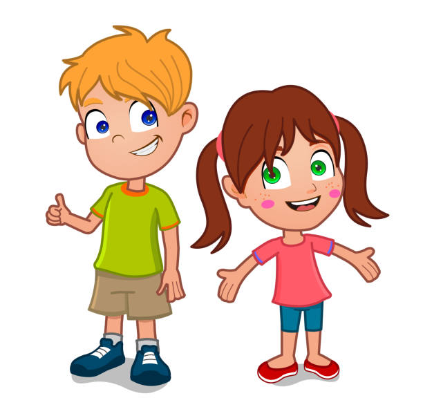 ilustraciones, imágenes clip art, dibujos animados e iconos de stock de little boy and girl - hermana