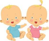 Vector little boy and little girl