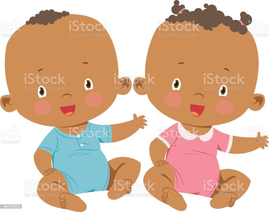 Little boy and little girl vector art illustration