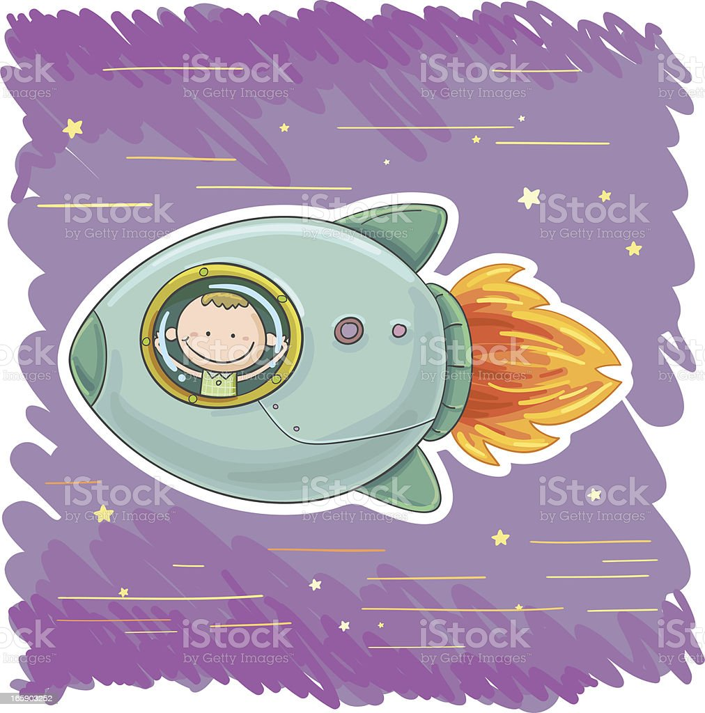 Little boy and spaceship royalty-free stock vector art