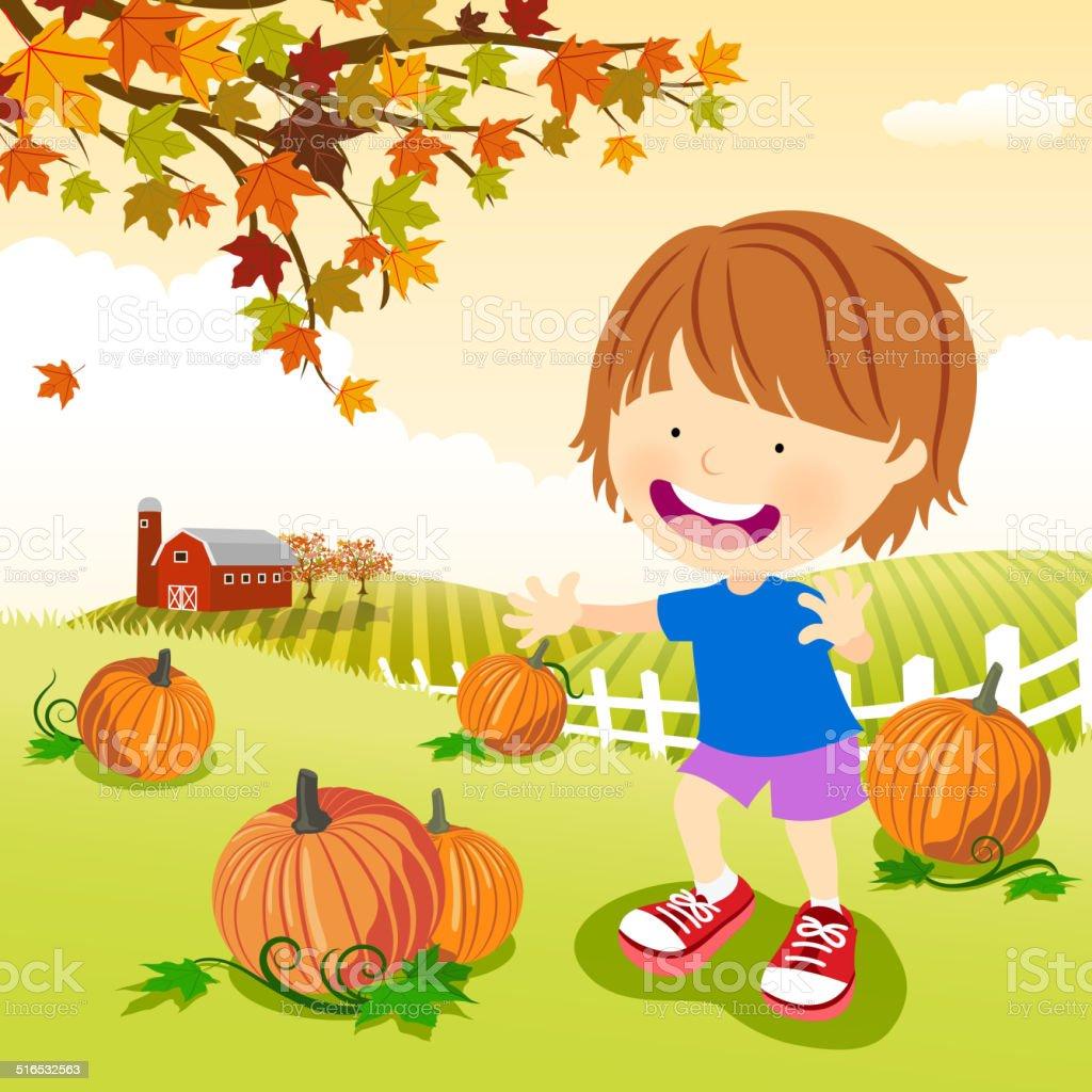 Little Boy at Pumpkin Patch During Halloween vector art illustration
