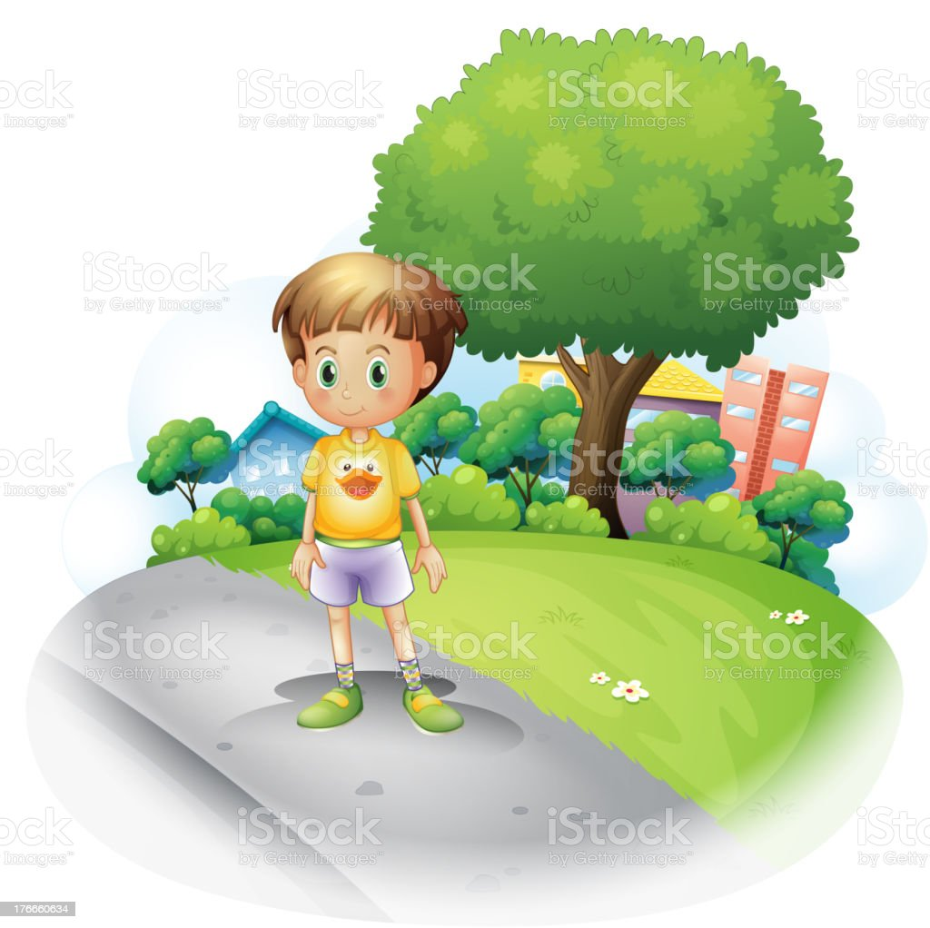 little boy at  road across the high buildings royalty-free little boy at road across the high buildings stock vector art & more images of adult