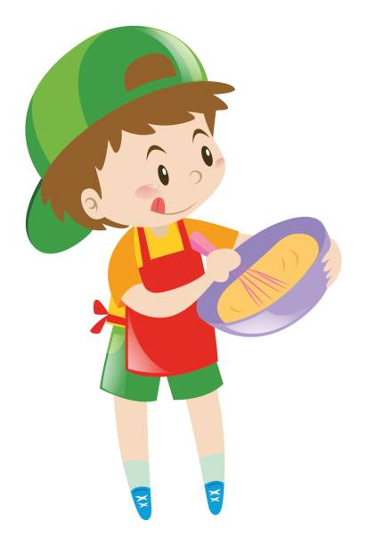 little boy beating flour in bowl - mixing bowl stock illustrations, clip art, cartoons, & icons