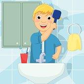Little Boy Brushing Hair Vector Illustration