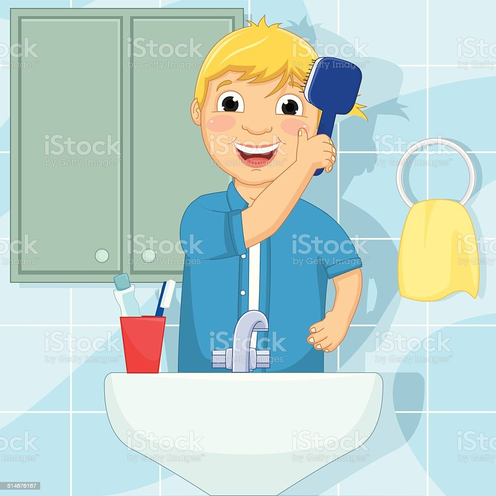 Little Boy Brushing Hair Vector Illustration vector art illustration
