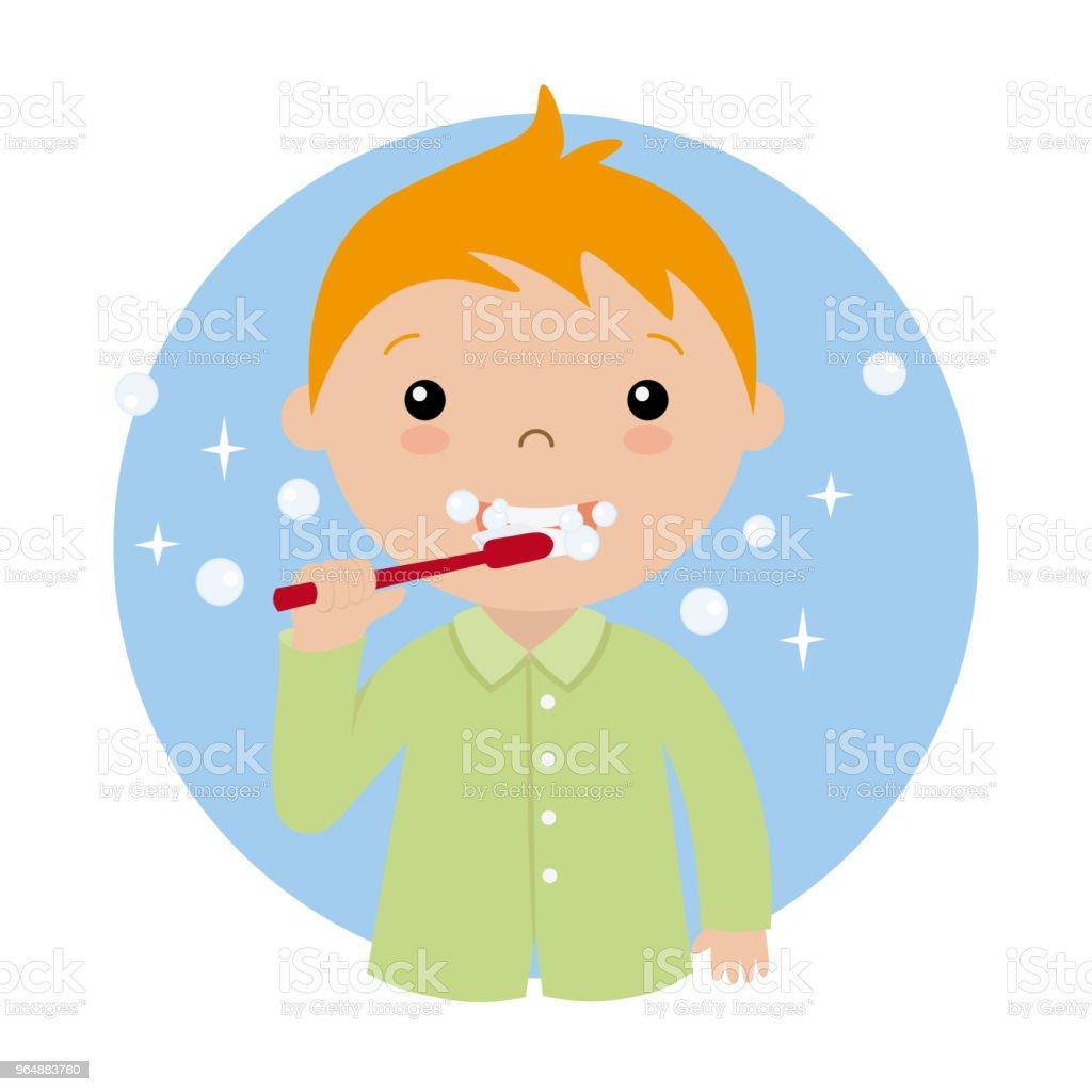Little boy brushing her teeth vector art illustration