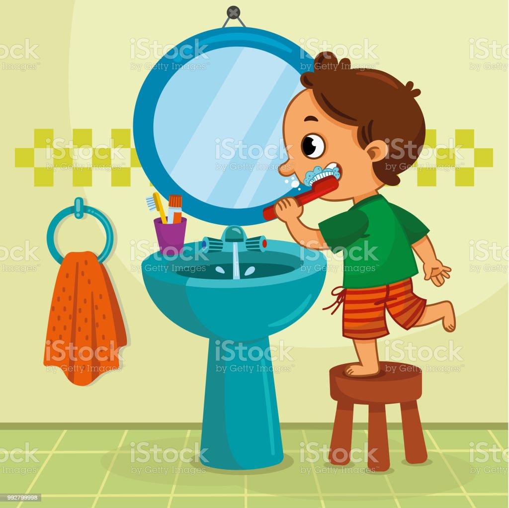 Little boy brushing his teeth in the bathroom. vector art illustration