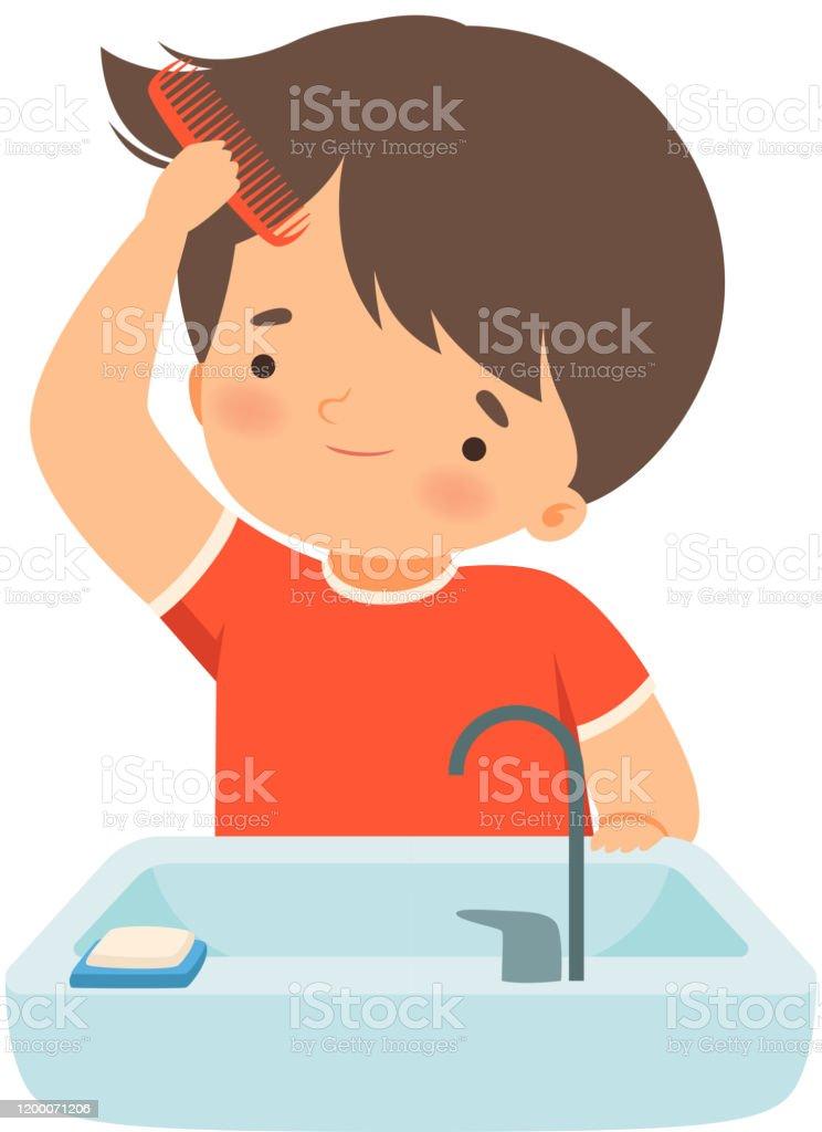 くしベクトルイラストで濡れた髪を磨く小さな男の子 お手洗いのベクターアート素材や画像を多数ご用意 Istock