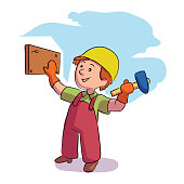 Little boy builder in helmet and uniform hammering nail on wooden board. Young construction worker character. Workshop or master class. Dream job. Future occupation. Vector illustration