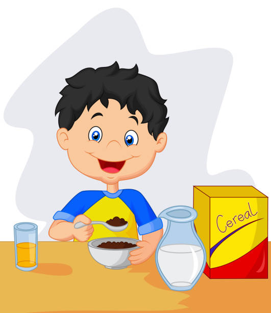 Best Child Eating Cereal Illustrations, Royalty-Free ...