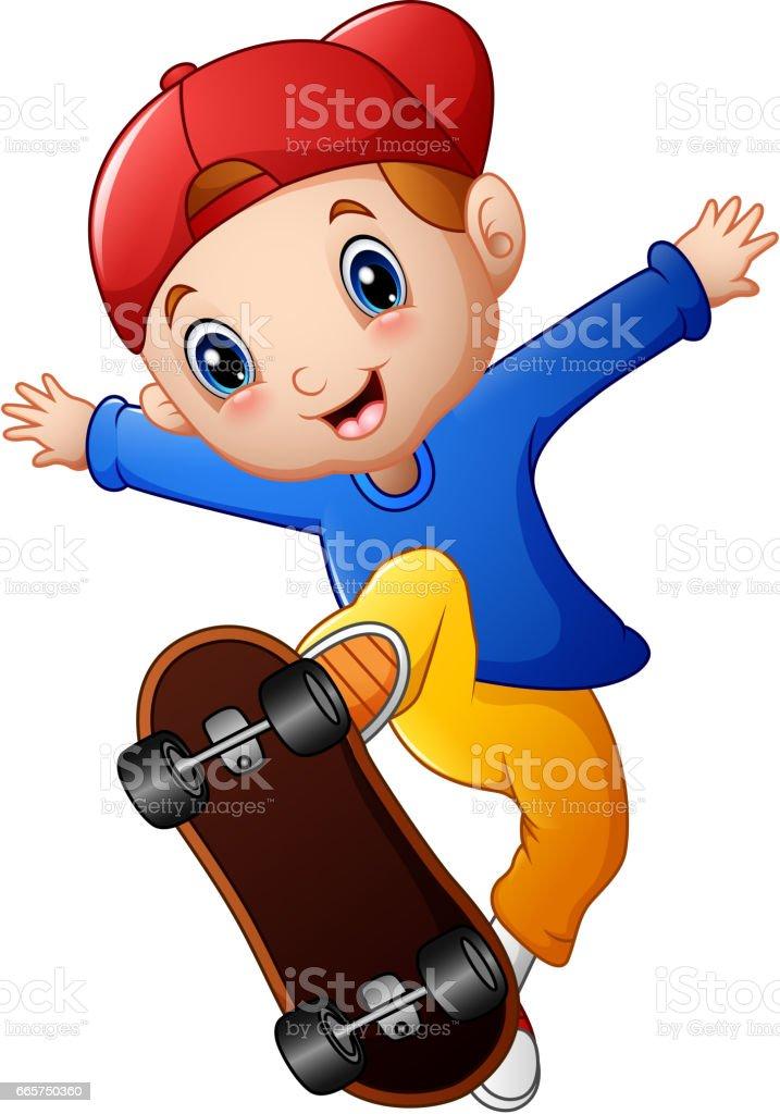 ilustração de little skate jogo dos desenhos animados de menino e