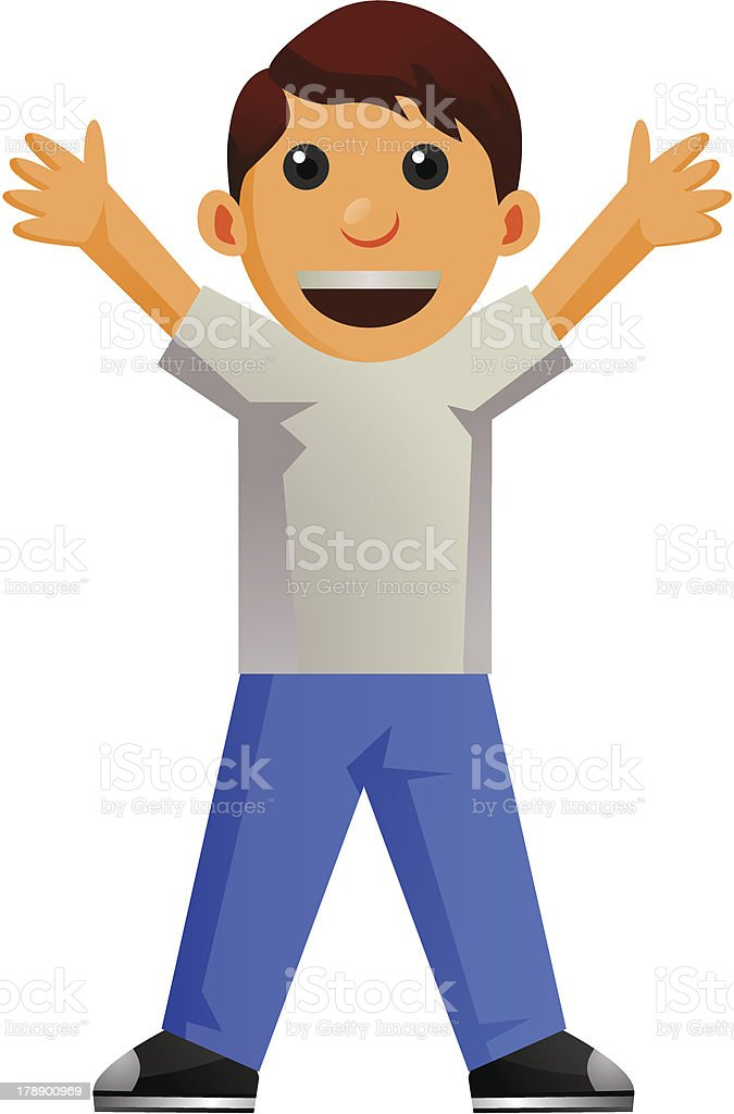 Little Boy Cartoon standing with arms wide open vector art illustration