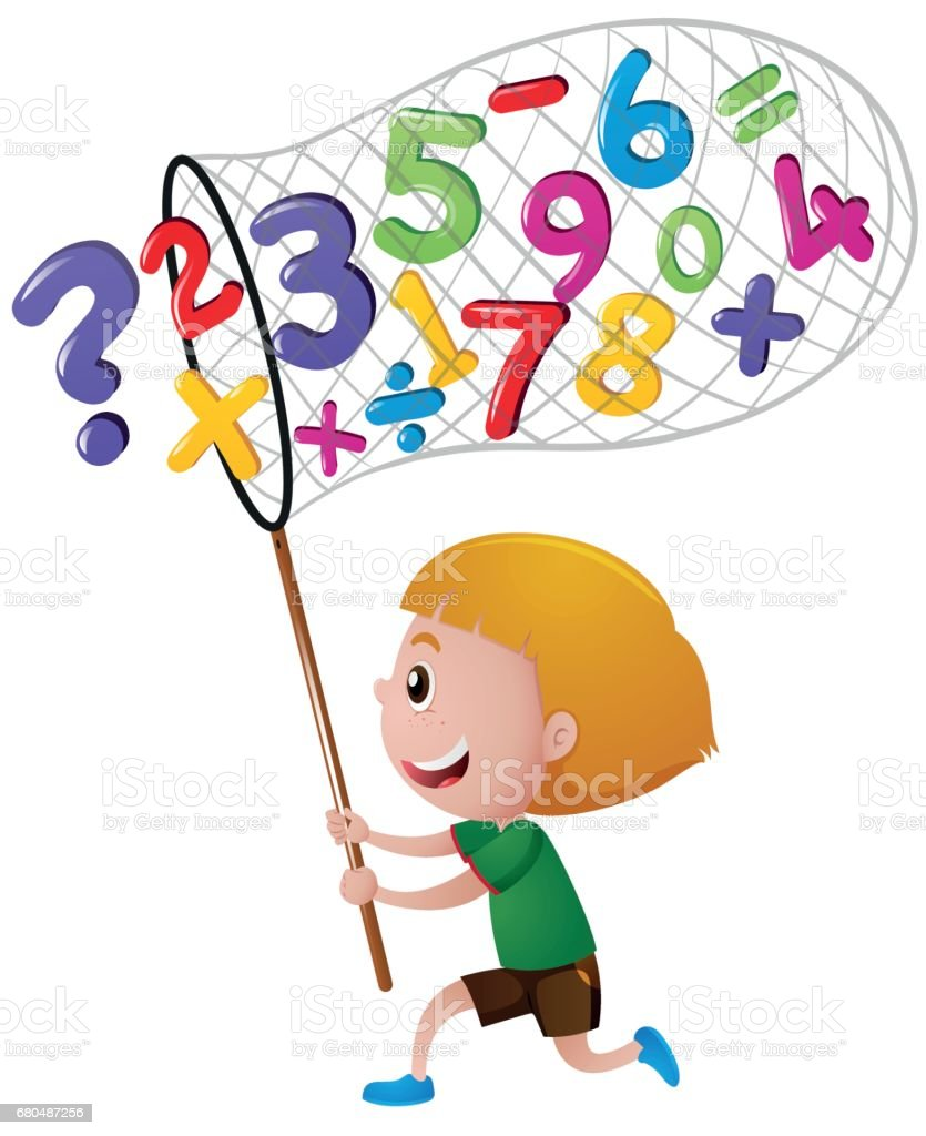 Little Boy Catching Numbers With Net Stock Illustration - Download ...