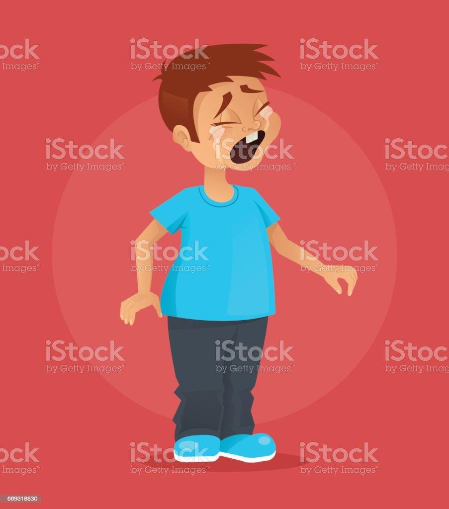 Little boy character crying vector art illustration