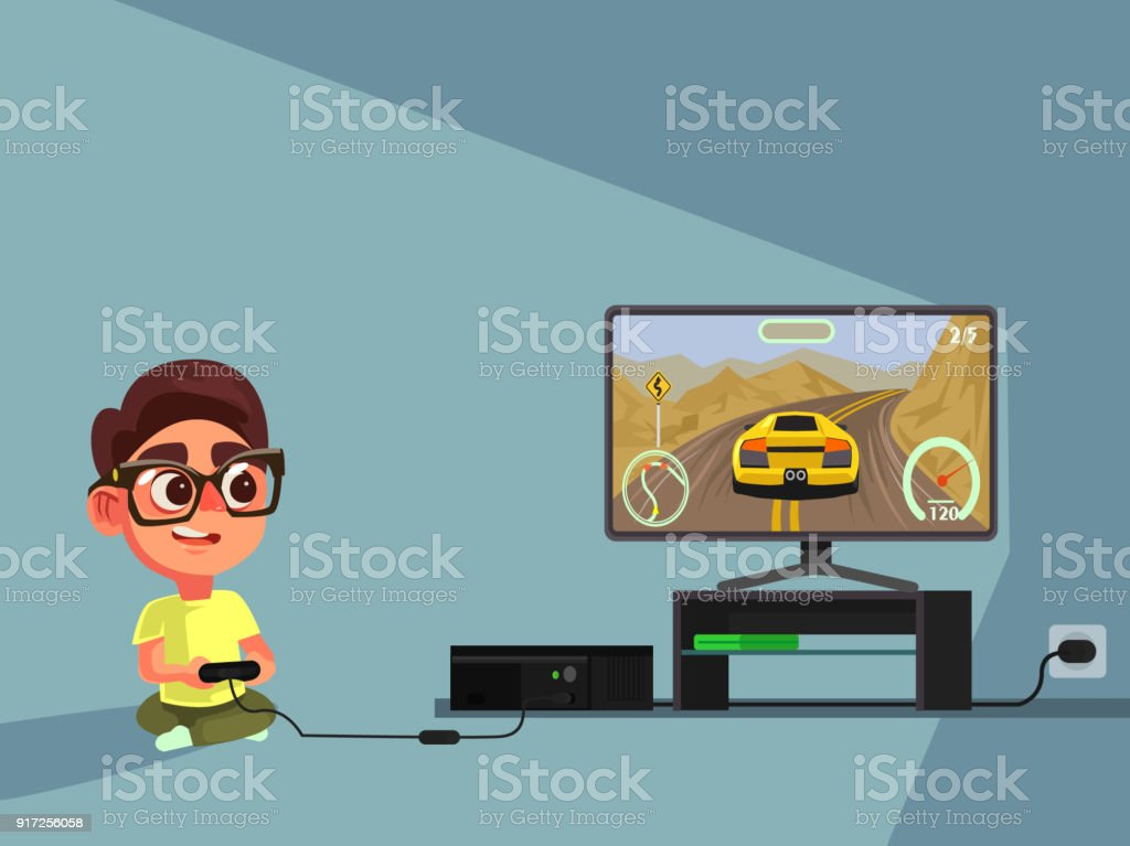 Little boy character play computer games vector art illustration