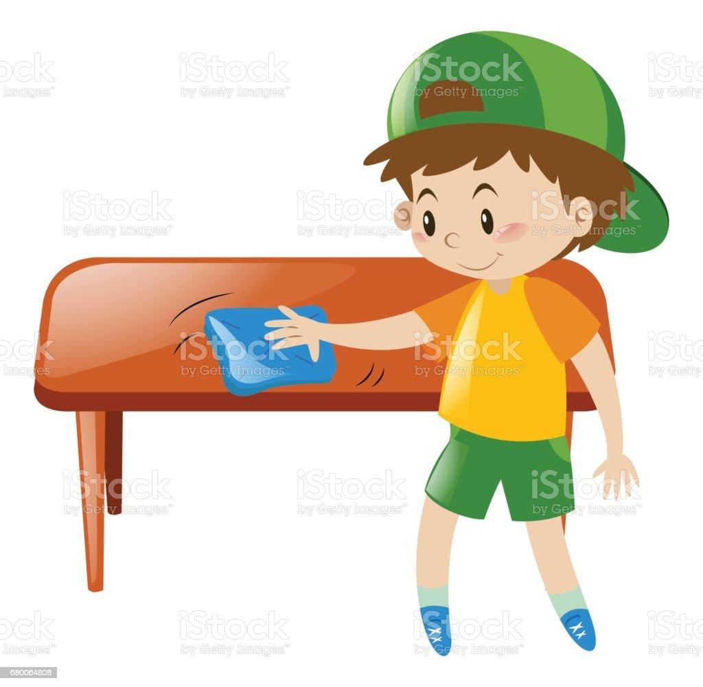 Relativ Kleiner Junge Reinigung Tisch Mit Tuch Stock Vektor Art und mehr ZO51