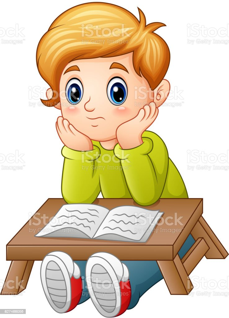 Little boy confused read a book vector art illustration