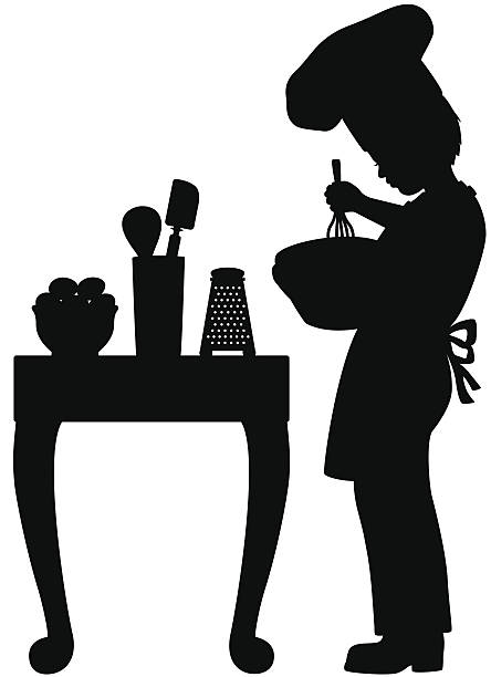 Little boy cook Silhouette of a little boy cooking. cooking silhouettes stock illustrations