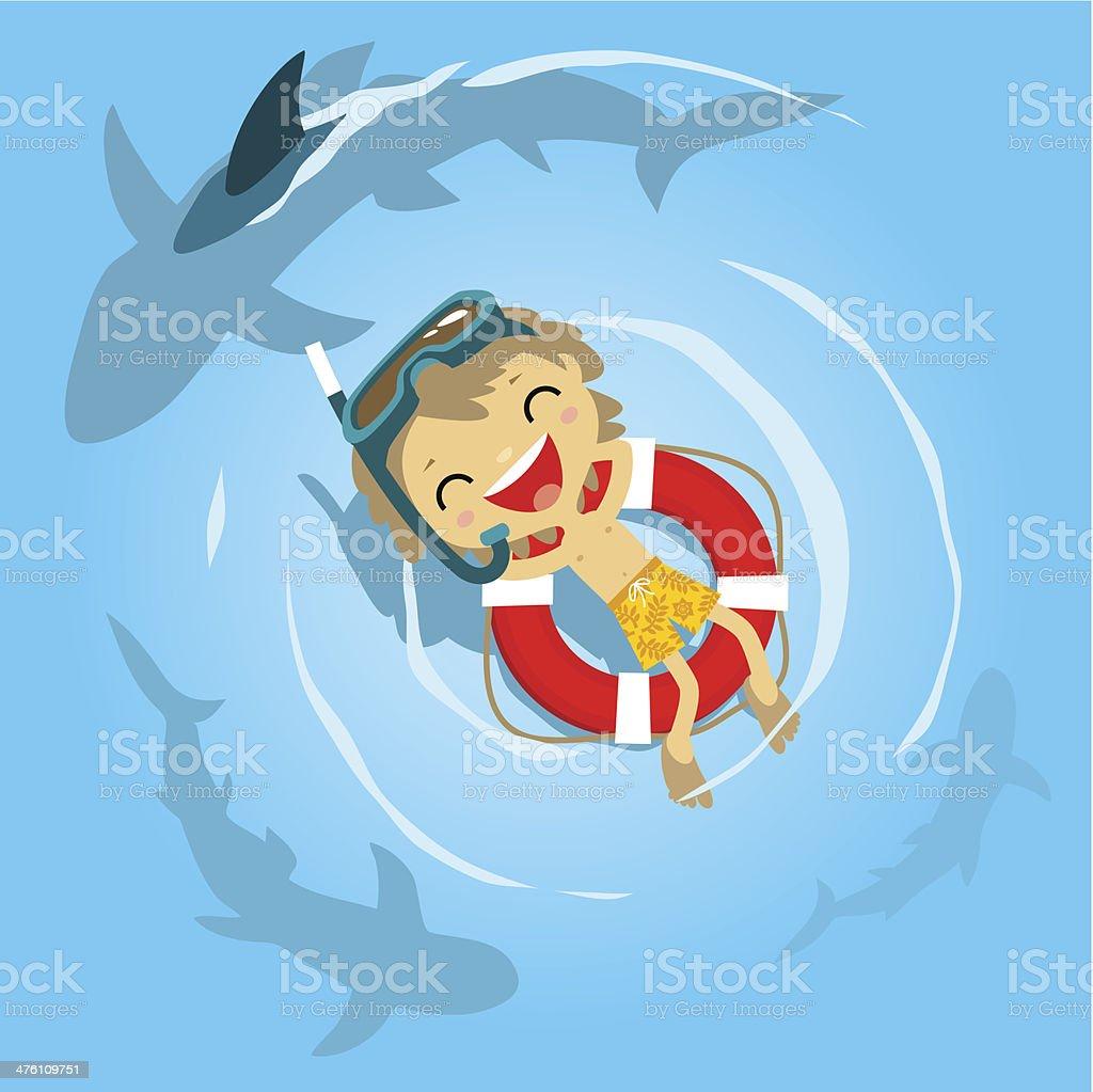 Little boy diver in danger royalty-free stock vector art