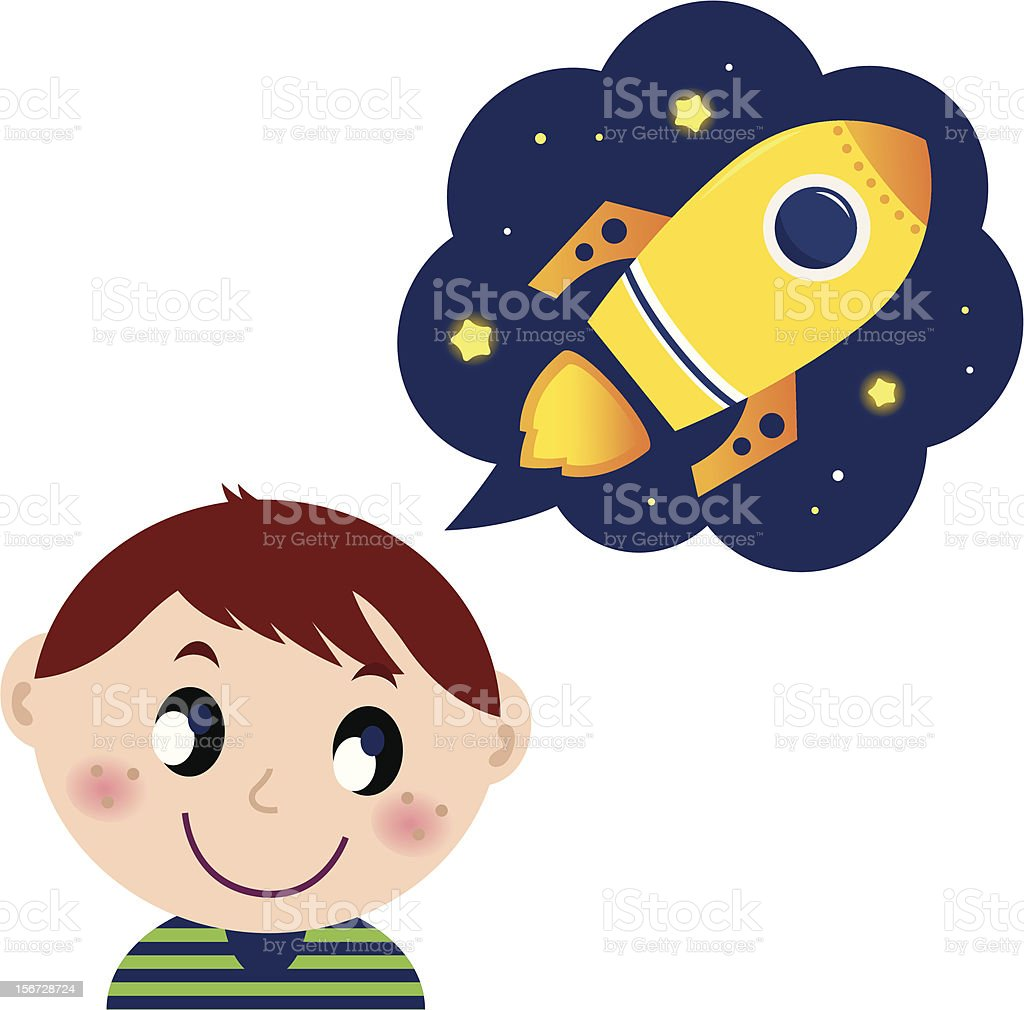 Little boy dreaming about rocket toy royalty-free little boy dreaming about rocket toy stock illustration - download image now