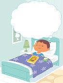 Vector Little boy dreaming in her sleep