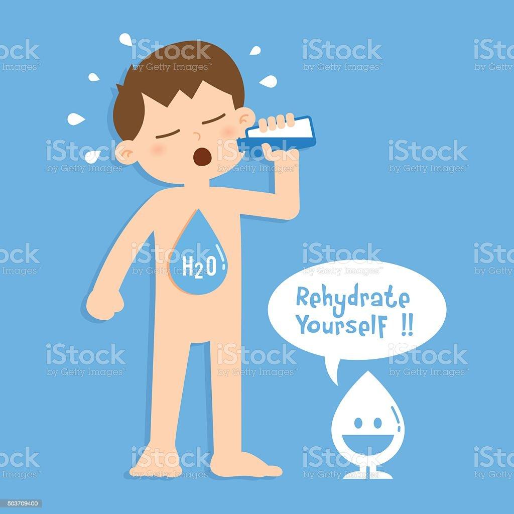 Little Boy Drinking A Bottle Of Water vector art illustration