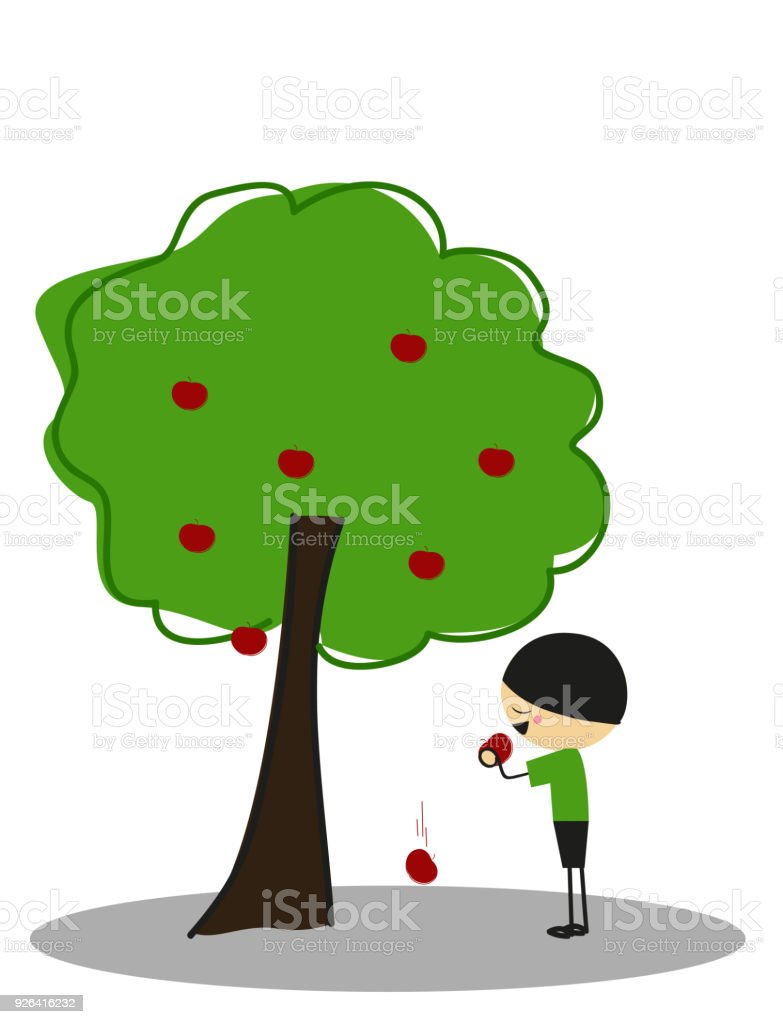 Little Boy Eating Apples Under The Apple Tree Full Color Stock ...