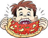 Little boy eating pizza - Vector