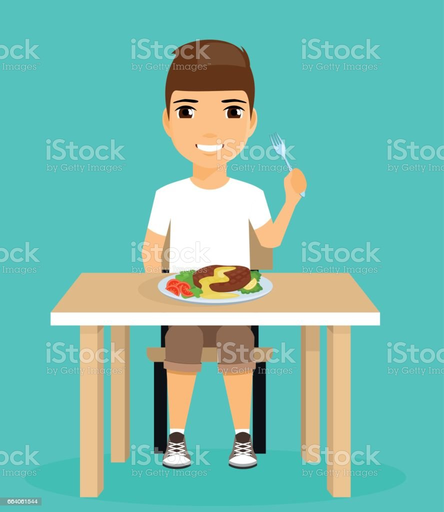 Little boy eats sitting at the dining table. vector art illustration