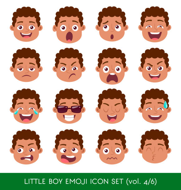 illustrazioni stock, clip art, cartoni animati e icone di tendenza di little boy emoji icon set - kids kiss embarrassed