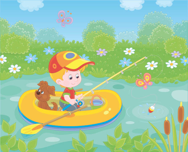 Little boy fisherman in his inflatable boat vector art illustration