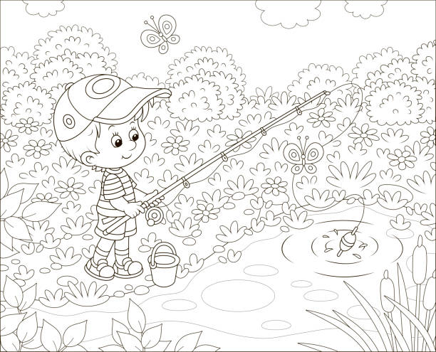 Little boy fisherman on a pond vector art illustration