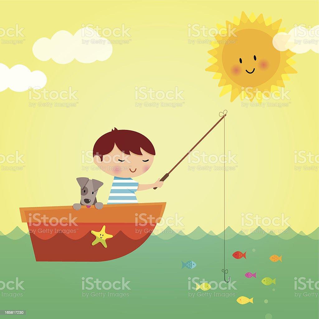 Little boy fishing royalty-free stock vector art