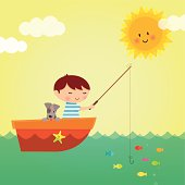 """""""Retro styled boy and his dog fishing in Summer time. EPS 10 file, some transparencies used. All elements are grouped and layered for easy editing."""""""