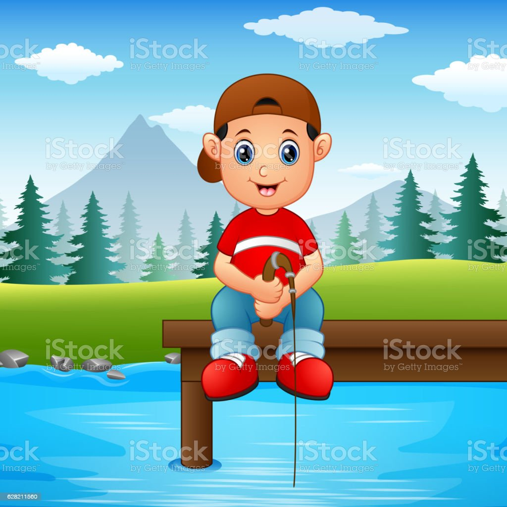 Little boy fishing vector art illustration