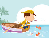 Vector Little boy fishing