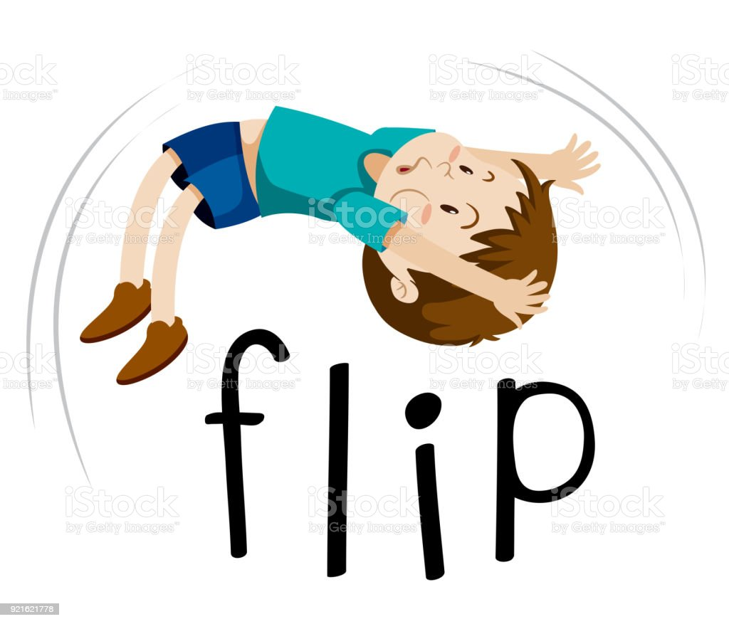 little boy flipping on white background stock vector art & more