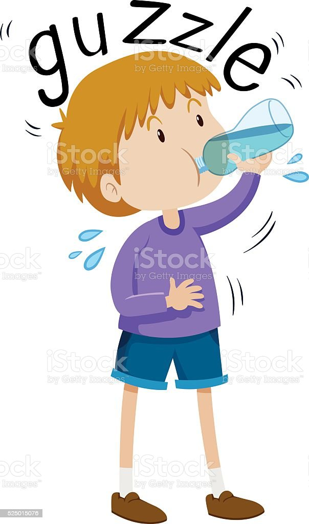 Little boy gazzle from water bottle vector art illustration