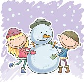 Little boy, girl and snowman in colourful cartoon style