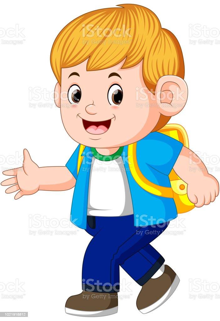 little boy going to school vector art illustration