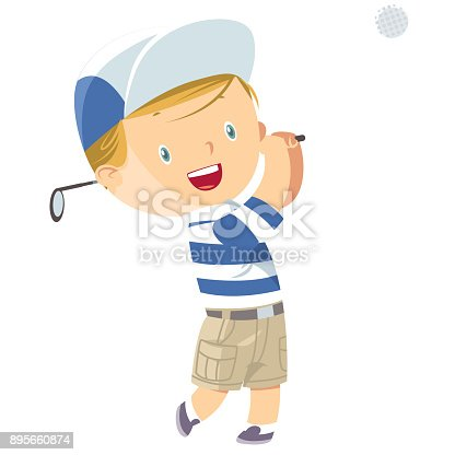 istock Little Boy Golf Player 895660874