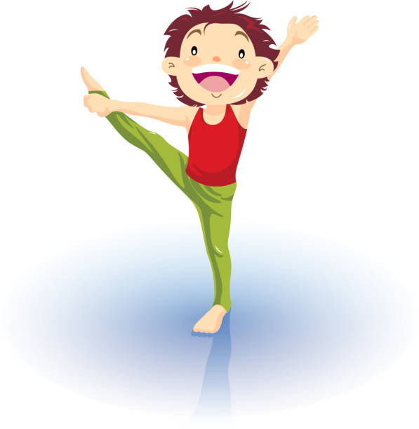 bildbanksillustrationer, clip art samt tecknat material och ikoner med little boy gymnastics - gym skratt