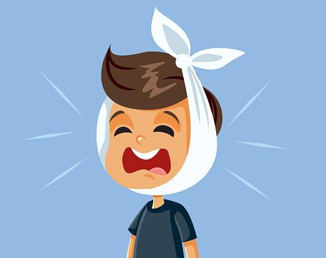 Little Boy Having a Toothache Feeling in Pain