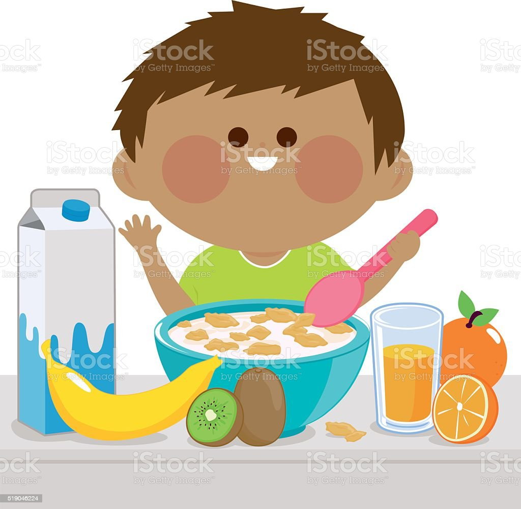 Little boy having breakfast vector art illustration