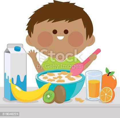 Little Boy Having Breakfast Stock Vector Art & More Images ...
